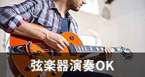 ギターやベースなど弦楽器の利用が可能です。